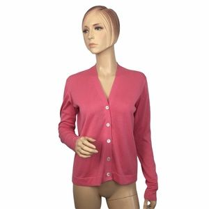Malo Cotton Cardigan V-Neck In Pink Small